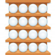 Wooden Shelf with Round Glass Buttons. — Stock Photo #28503141