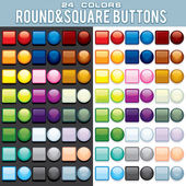 Multicolored Square and Round Buttons. — Stock Photo