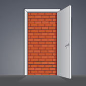 Illustration. Door to Nowhere or No Way Out — 图库照片