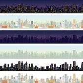 Wide Cityscape Different Time. Illustration — Stockfoto