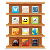 Wood Shelves with Computer Apps Icons. — Foto de Stock