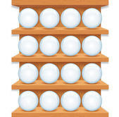 Wooden Shelf with Round Glass Buttons. — Stock Photo