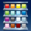Stock Vector: Blank Colorful Apps Icons on Metal Shelfs. Vector