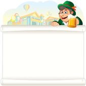 Bavarian Guy with Beer on Oktoberfest Background — Stock Vector