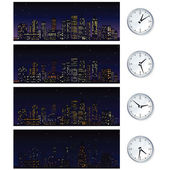 Night Time Skyline. Set of Vector Illustrations — Stock Vector