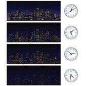 Night Time Skyline. Set of Vector Illustrations — Stock Vector