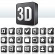 3D Apps Icon Technology Pictogram on Square Button — Imagen vectorial