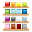 Icon on Wood Shelf Display. Vector Template Design — Stock Vector