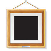Holz fotorahmen auf der wand-vektor-illustration — Stockvektor