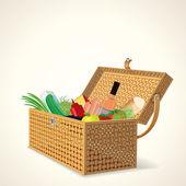 Piknikový koš s ovocem, zeleninou a vínem. — Stock vektor