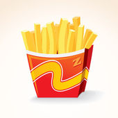 Fast Food Vector Icon. French Fries Potato Bucket. — Stock Vector