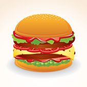 Fast Food Icon. Hamburger with Cheese, Relish — Stock Vector