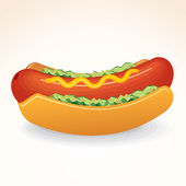 Fast Food Vector Icon Hot Dog with Mustard, Relish — Stock Vector