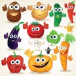 Funny Cartoon Vegetables Clip Art — Stock Photo