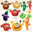 Funny Cartoon Vegetables Clip Art — Stockfoto