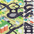 Isometric City Map. Cars, Roads, Houses — ストック写真