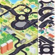 Isometric City Map. Cars, Roads, Houses — Stok fotoğraf
