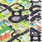 Isometric City Map. Cars, Roads, Houses — Stock Photo