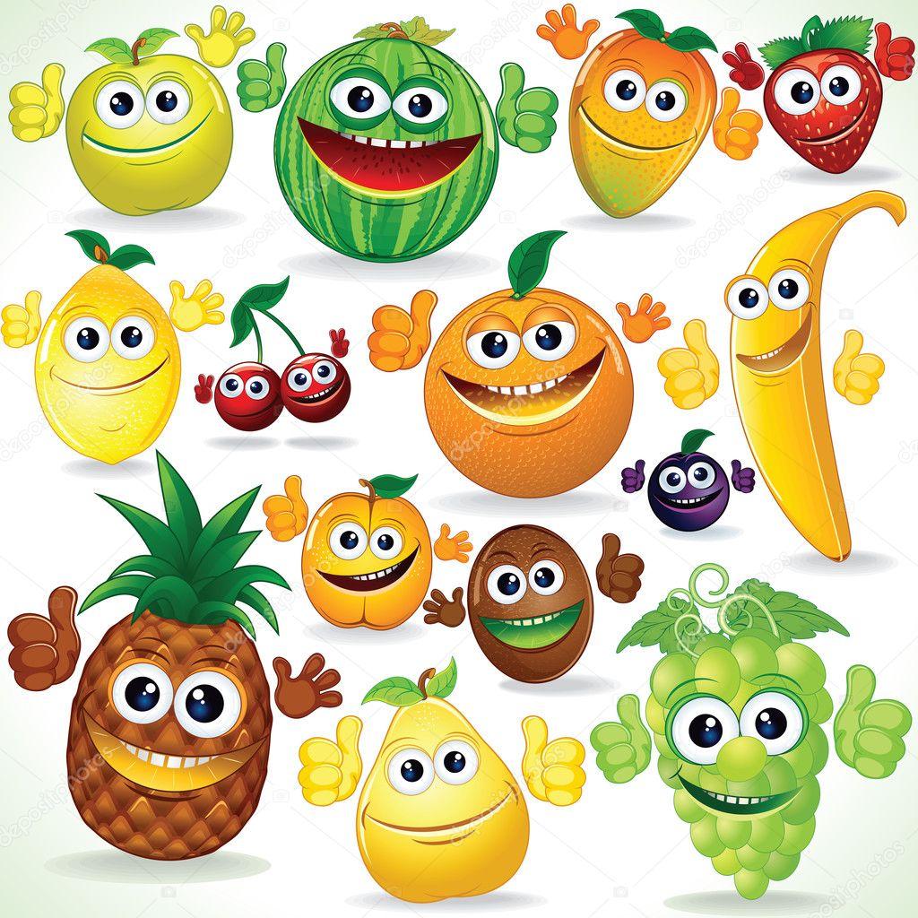 各种可爱的卡通水果