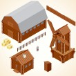 Stock Vector: Isometric Wooden Cabins and House. Vector Clip Art