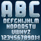 Silver Metallic Font. Set of Shiny Metal Letters — Stock Photo