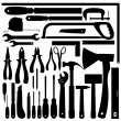 Silhouettes of Work Tools, Instruments. Vector Set — Vektorgrafik