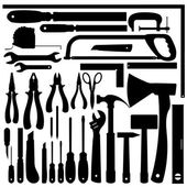 Silhouettes of Work Tools, Instruments. Vector Set — Stock Vector
