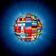 Flags Globe on Abstract Background. Vector — Stock Photo