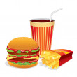 Fast Food Collage. Vector Illustration — Stock Vector