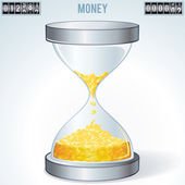 Time is Money. Gold Coins Flowing Inside Hourglass — Stock Vector