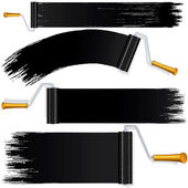 Black Roller Brush on White Background. — Stock Photo