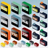 3D Isometric File Type Icons Set — Stock Photo