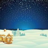 Winter Landscape. Cartoon Illustration — Stock Photo