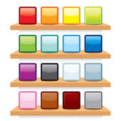 Icon on Wood Shelf Display. Template Design — Stock Photo