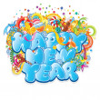 Happy New Year Title. Vector Design — Vettoriali Stock