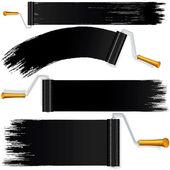 Black Roller Brush on White Background. Vector — Stock Vector