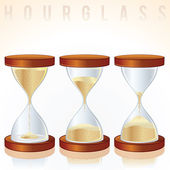 Hourglass. Three Different States. Vector Graphics — Stock Vector