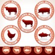 Meat Labels. Pork, Beef, Chicken, Lamb, Tuna — Stock Vector