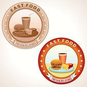 Rótulos de retro fast-food. ilustração vetorial. — Vetorial Stock
