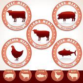 Meat Labels. Pork, Beef, Chicken, Lamb, Tuna — Stock Vector