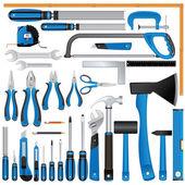 Destornilladores, cuchillos, gobernantes, martillos, alicates etc — Vector de stock