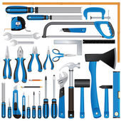Screwdrivers, Knives, Rulers, Hammers, Pliers etc — Vector de stock