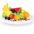 Plate with Fruits — Stock Photo