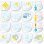 Weather Forecast Stickers. Icon Set — Stockfoto