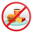 No Fast Food. Prohibition Sign. Vector Label. — Stock Vector