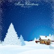 Retro Christmas Scene. Winter Landscape with House — Imagen vectorial