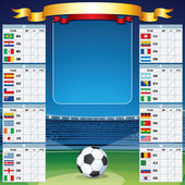 Soccer Background with World Cup Table. Vector Set — Stock Vector