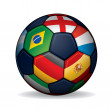 Soccer Ball with World Flags — Stock Vector