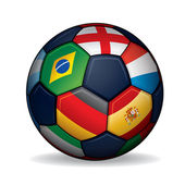 Soccer Ball with World Flags — Stok Vektör