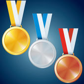 Golden, Silver and Bronze Medals. Vector Set — Stock Vector
